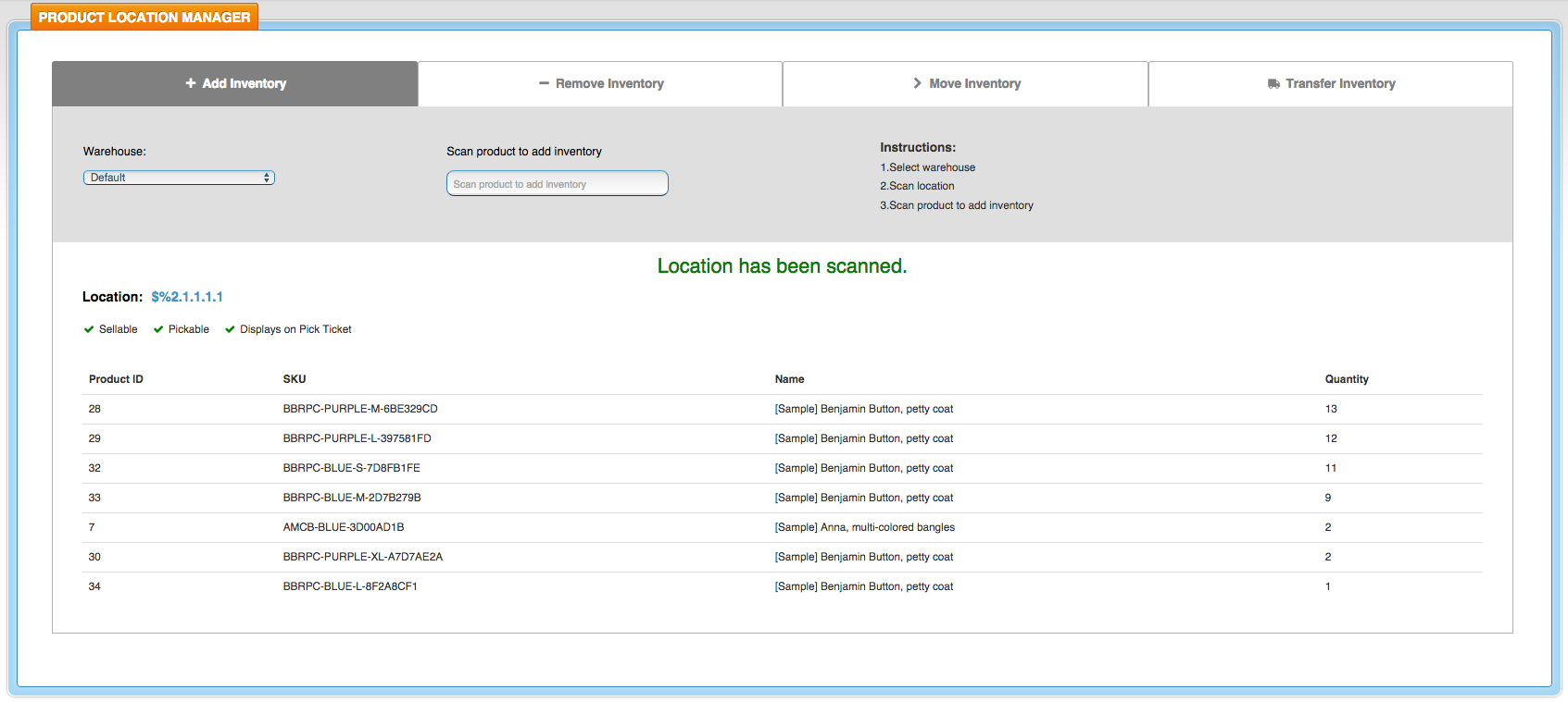 SalesWarp Product Location Manager Dashboard